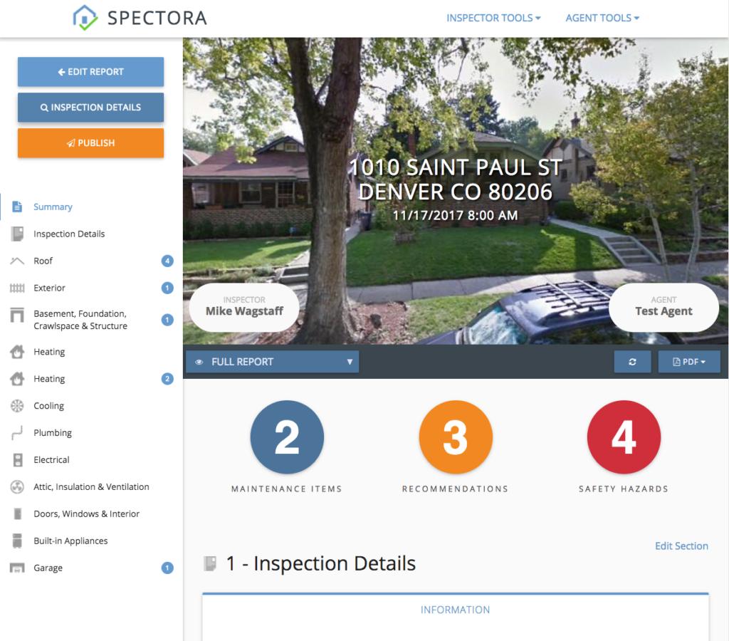 Spectora Report with custom categories